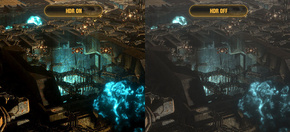one image splited into two as screen, showing difference effect between HDR on and off