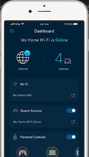 Linksys App on the Main screen