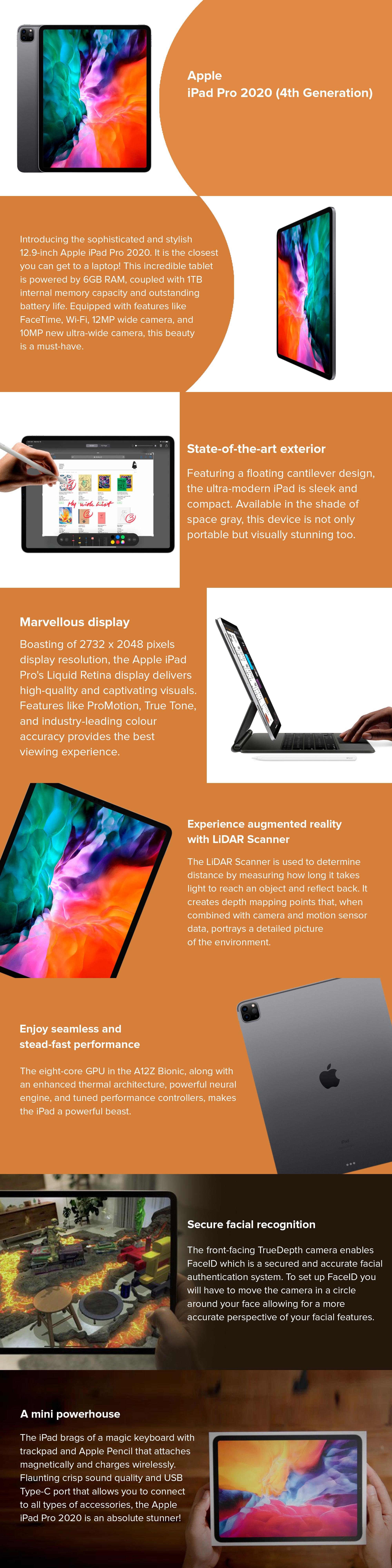 Apple iPad Pro 2020 (4th Generation) 12.9-inch, 1TB, Wi-Fi ...