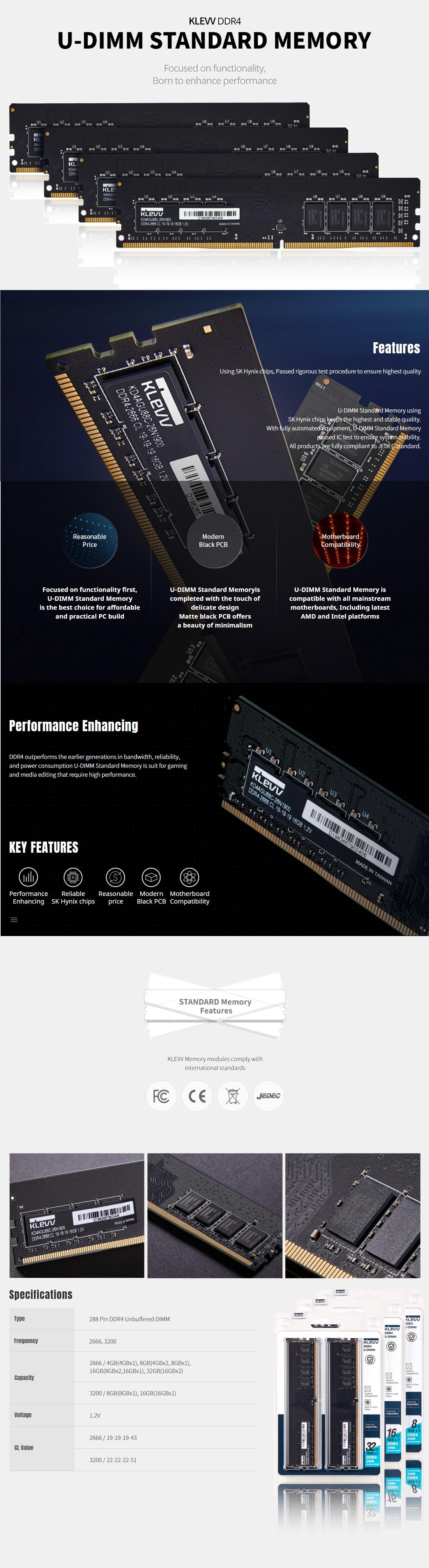 Klevv 8GB DDR4 U-DIMM 2666Mhz Standard Memory 3
