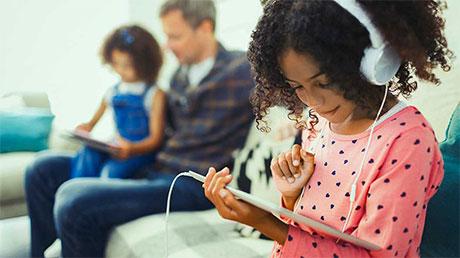 Children using tablets