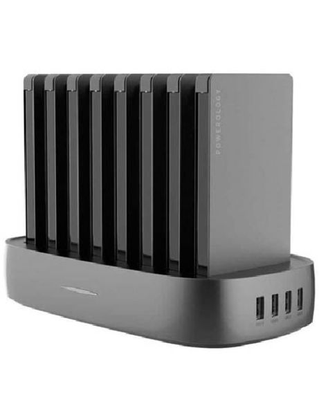 Powerology 8 in 1 Power station 8000 mAh with built in Cable Black