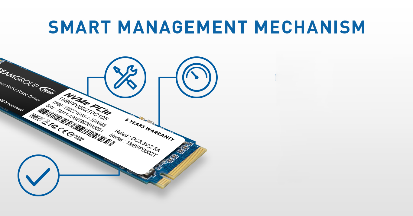 MP33 M.2 PCIe SSD supports S.M.A.R.T function and its built-in smart algorithm management mechanism