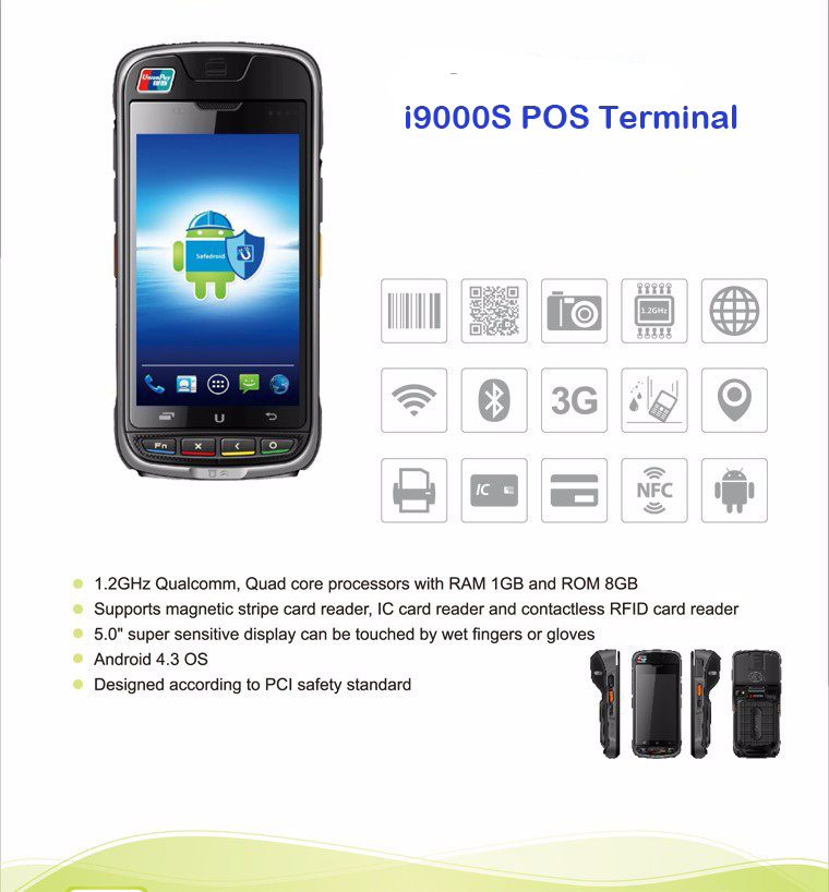 Urovo  i9000S All In One Android Smart POS Payment Terminal With 2'' Thermal Printer MSR IC NFC Camera 3G 4G Andriod 1.2GHz w1