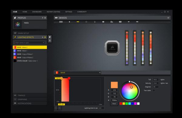 RGB customization interface on iCUE software