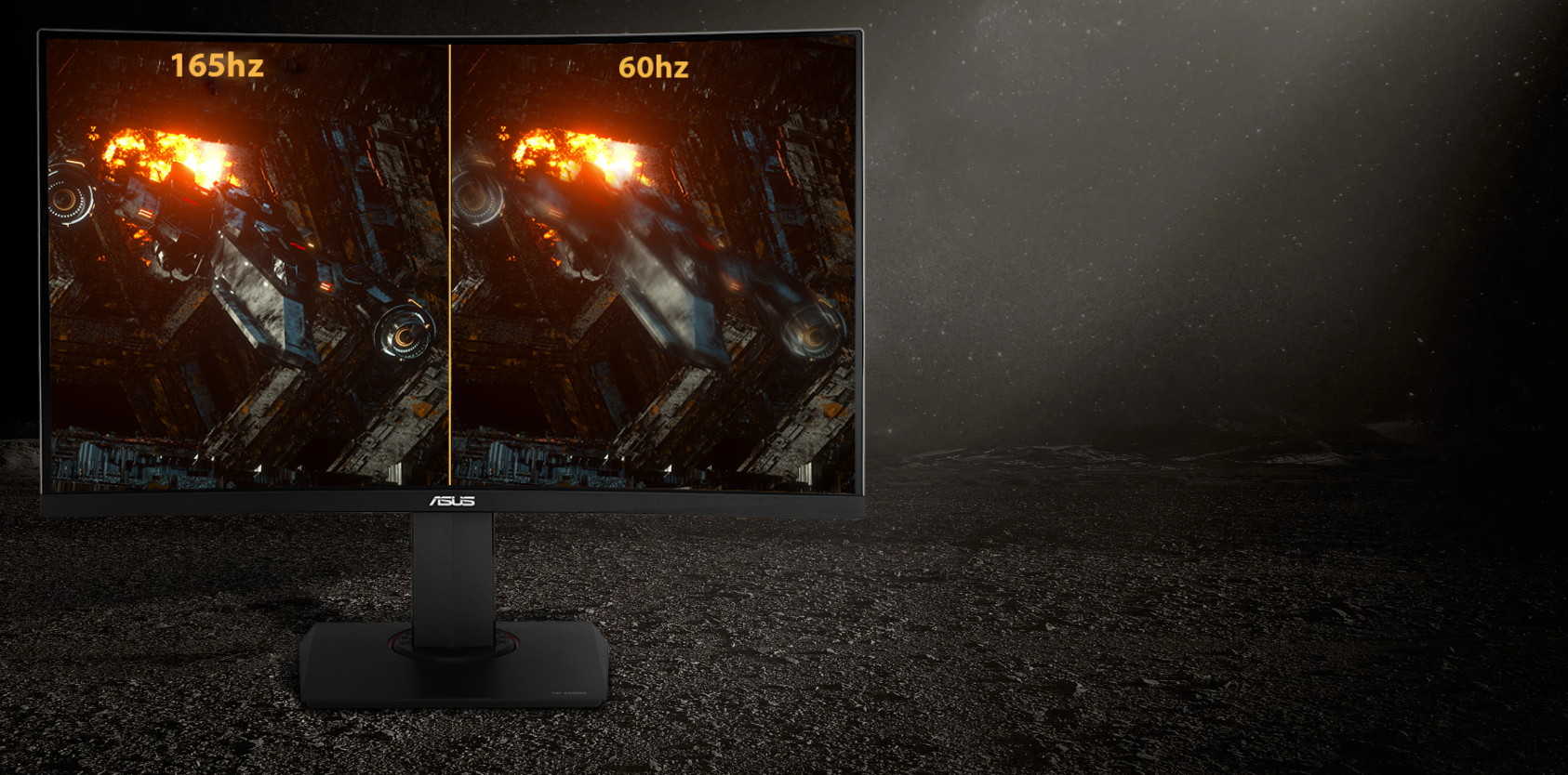 one image splited into two as screen, showing difference effect between 165Hz and 60Hz