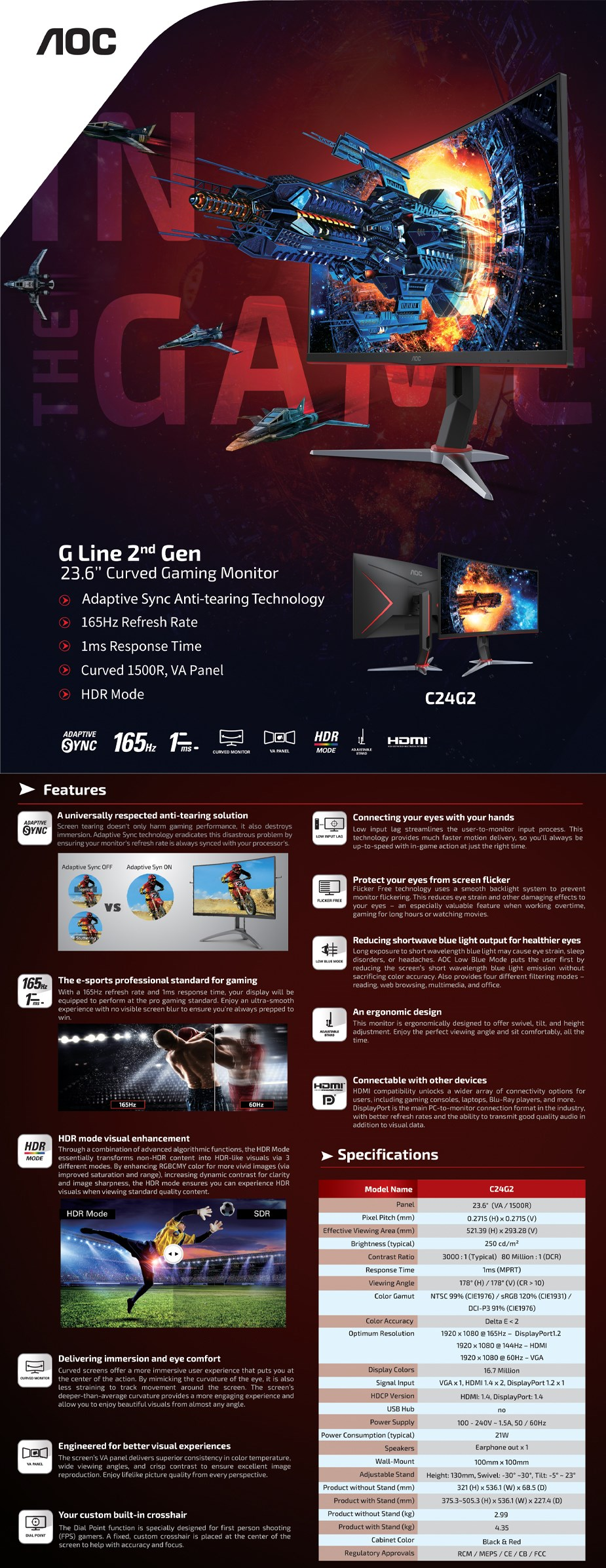 "AOC C24G2 23.6"" 165Hz Full HD 1ms FreeSync VA Gaming Monitor - Overview 1"