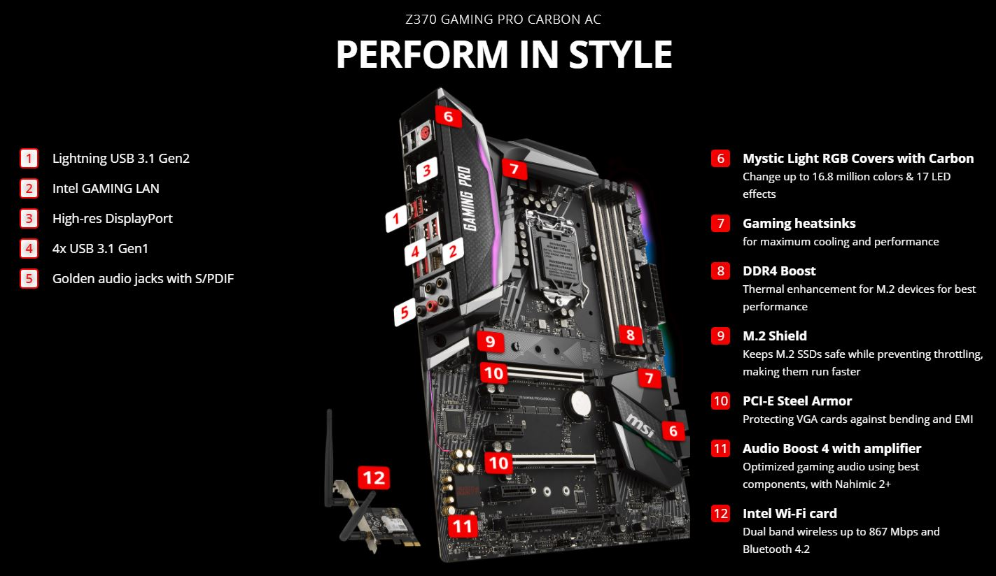 Image result for MSI Z370 Gaming PRO Carbon AC
