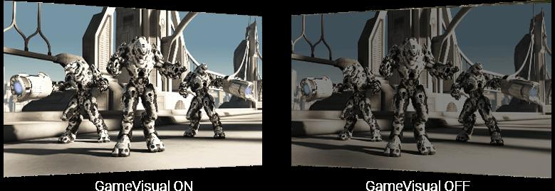 three robots in different bright