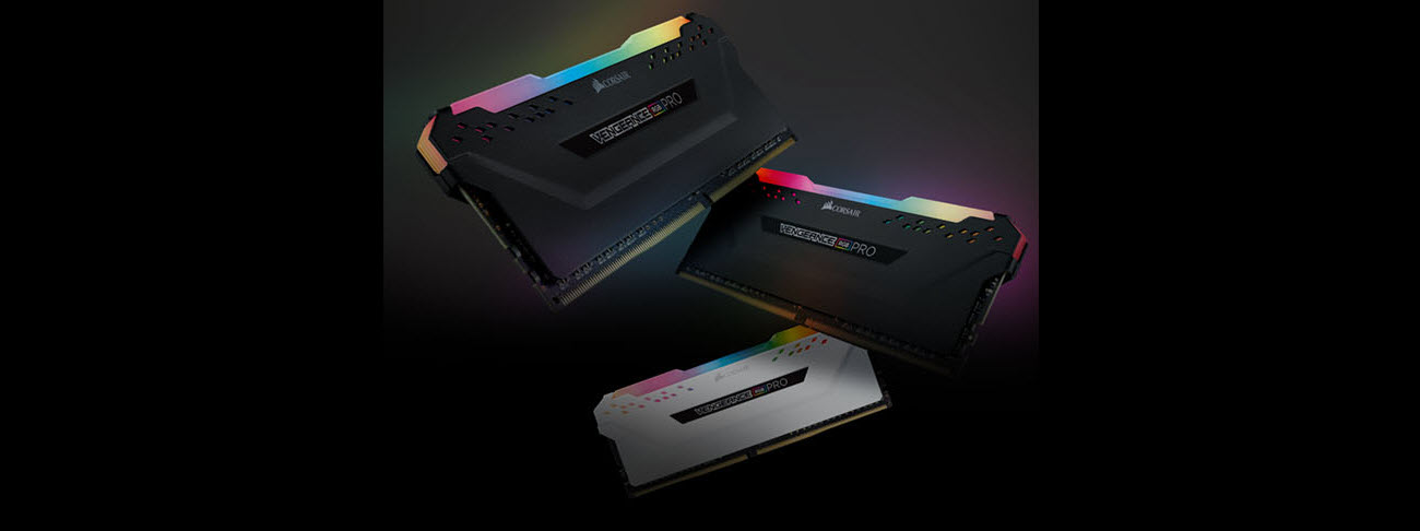 Vengeance RGB Pro Series DDR4 memoryin black and white finishes