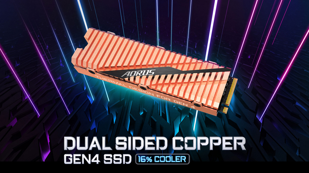 GIGABYTE AORUS SSD Facing Up to the Left around neon light coming from an intertwined scifi graphic. There is also text that reads: DUAL SIDED COPPER GEN4 SSD 16% COOLER