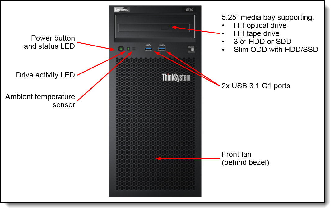 Front view of the ThinkSystem ST50 server