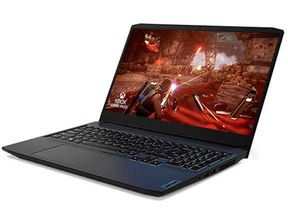 """Lenovo IdeaPad Gaming 3i Gen 6 (15"""" Intel) laptop—3/4 left-front view with lid open and display showing a firefight in a game, with """"XBOX GAME PASS"""" logo superimposed over the lower left corner"""