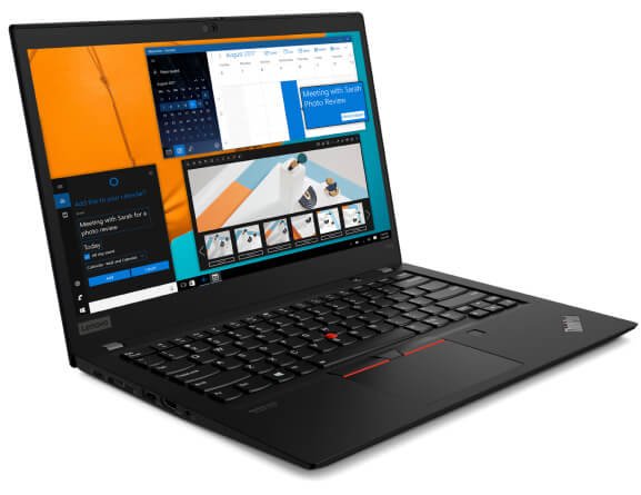 Lenovo ThinkPad T14s (Intel) laptop open 90 degrees and angled slightly to show left-side ports.