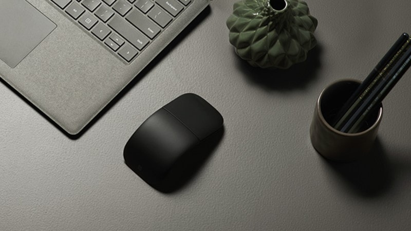 The new Microsoft Arc Mouse on a desk