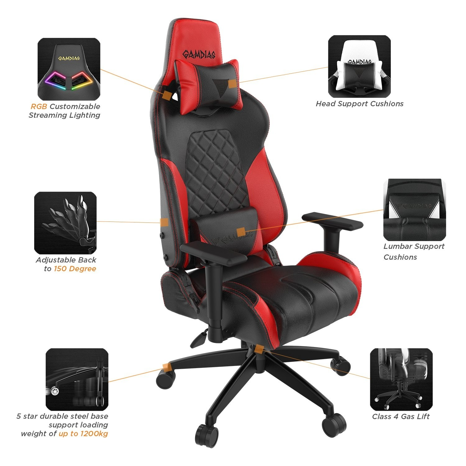 Admirable Gamdias Achilles E1 L Multi Color Rgb Gaming Chair High Back Headrest And Lumbar Black Red Achill Alphanode Cool Chair Designs And Ideas Alphanodeonline