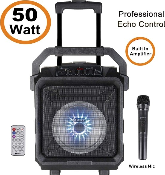 Zoook Rocker, 8 watts Trolley Karaoke, Bluetooth Speaker with Remote,  Built in Amplifier and Wirele