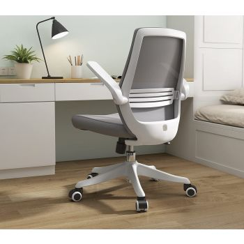 Sihoo Ergonomic Office Chair, Swivel Desk Chair Height Adjustable Mesh Back Computer Chair With Lumbar Support, 90° Flip-up Armrest - Grey   M76-HB-Grey
