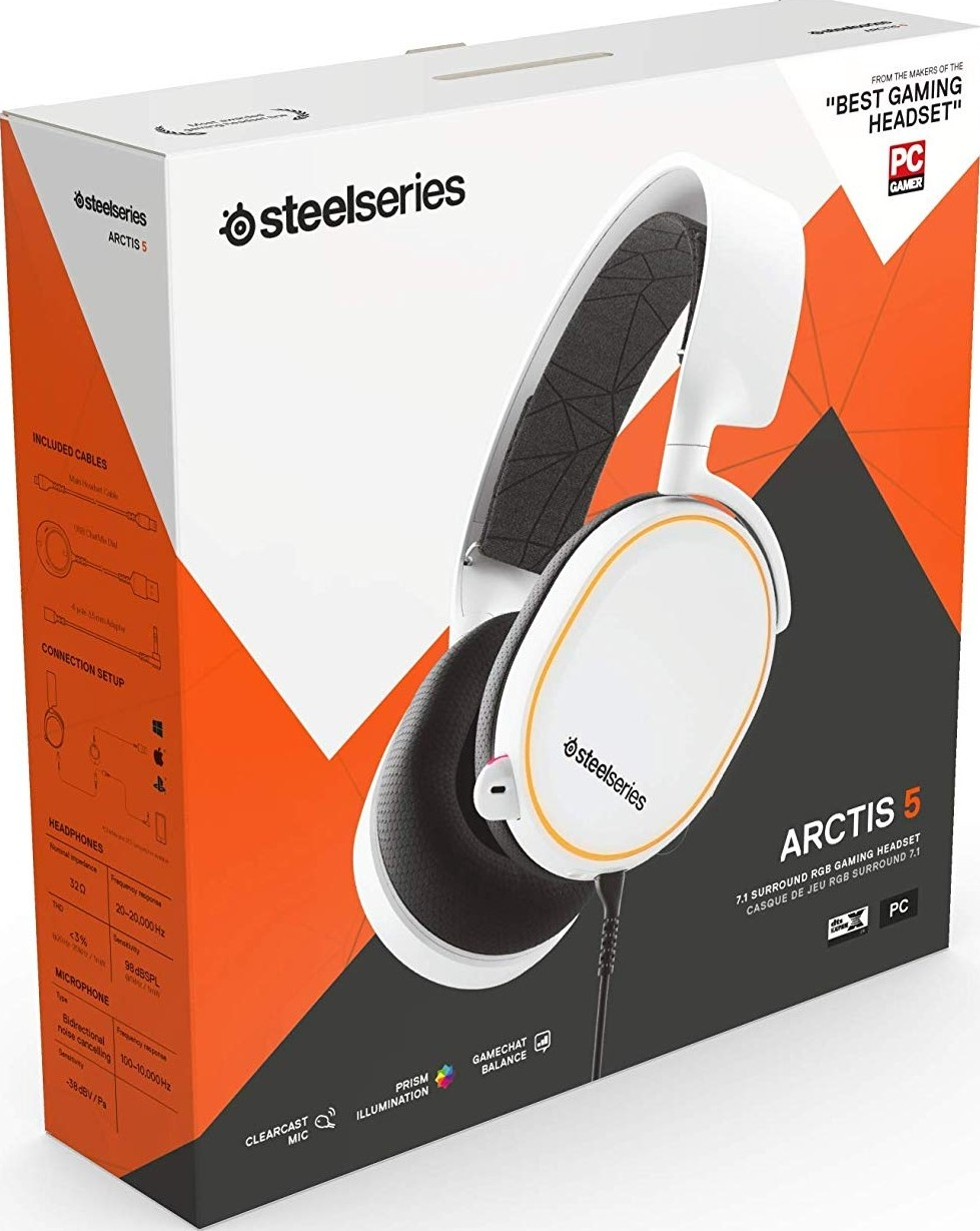 Steelseries Arctis 5 2019 Edition Rgb Illuminated Gaming Headset With Dts Headphone X 7 1 Surroun