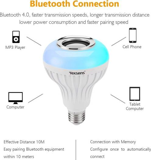 Texsens LED Light Bulb Bluetooth Speaker, 6W E26 RGB Changing Lamp Wireless Stereo Audio with 24 Keys Remote Control | LED-MUSIC-BULB