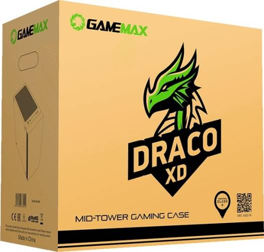 Gamemax Draco XD ARGB Mid-Tower Gaming PC Case Tempered Glass 4x ARGB Fans Included Supports up to E-ATX   Draco XD