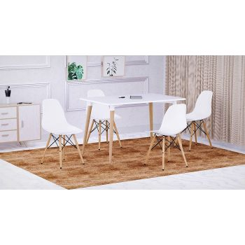 Mahmayi Cenare Eames Style Side Table with Natural Wood Legs Dining Table Lounge Table (140x80) - White | Cenare-Table-140x80-WHT