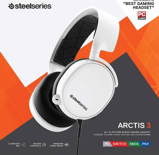SteelSeries Arctis 3 (2019 Edition) All-Platform Gaming Headset for PC, PlayStation 4, Xbox One, Nintendo Switch, VR, Android, and iOS - White | 61506