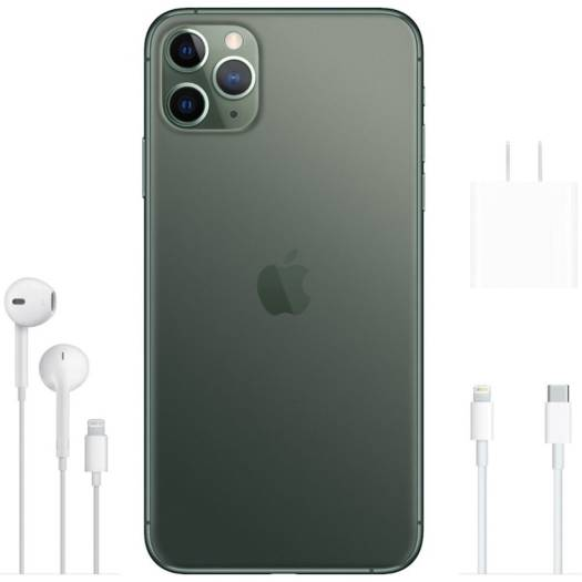 Apple iPhone 11 Pro Max 256GB, Midnight GREEN, Dual Nano SIM, 4G LTE with FaceTime (2 Pin Plug Adapter) | MWF42Z