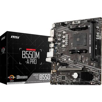 MSI B550M-A PRO Micro-ATX Motherboard, AMD B550 Chipset, AM4 Socket, Max. Memory 64GB DDR4, 2 x Dual-Channel DDR4 Ports, 1 x PCIe 4.0 x16 Slot   911-7C96-006
