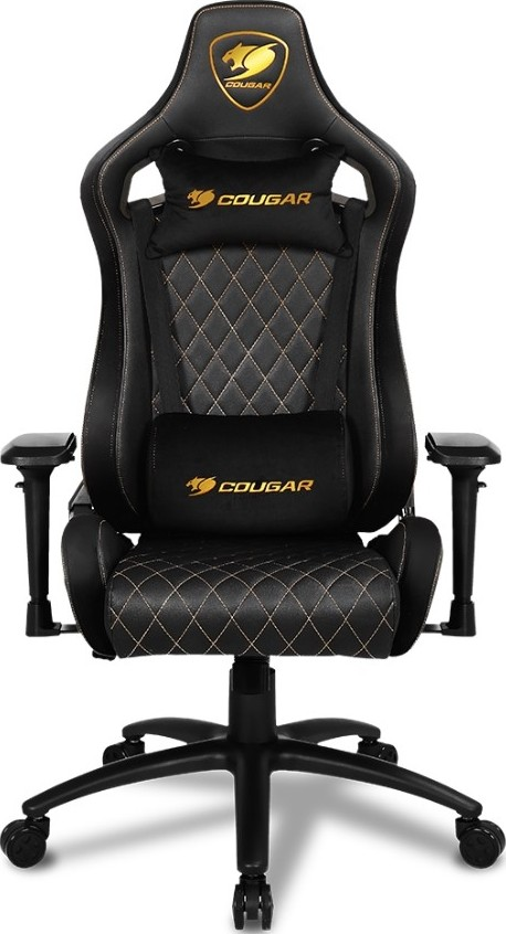 Wondrous Cougar Armor S Royal Deluxe Gaming Chair Full Steel Frame Suede Like Texture And Golden Stitchin Andrewgaddart Wooden Chair Designs For Living Room Andrewgaddartcom