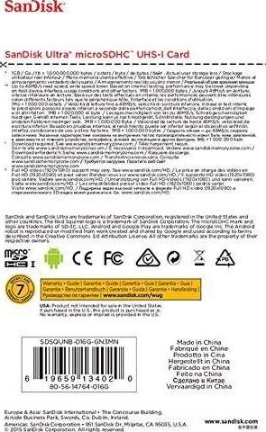 SanDisk Ultra 16GB 48MB/s UHS-I Class 10 Micro SDHC Card | SDSQUNB