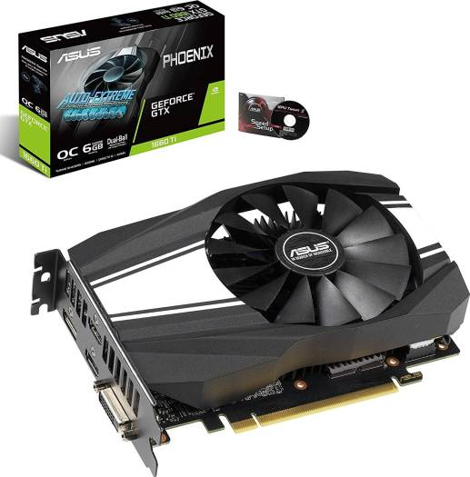 Asus Phoenix GeForce GTX 1660 Ti OC Edition 6GB GDDR6 192-Bit PCI-e 3.0 DVI/HDMI/DP  Graphics Card (PH-GTX1660TI-O6G) | 90YV0CT0-M0NA00