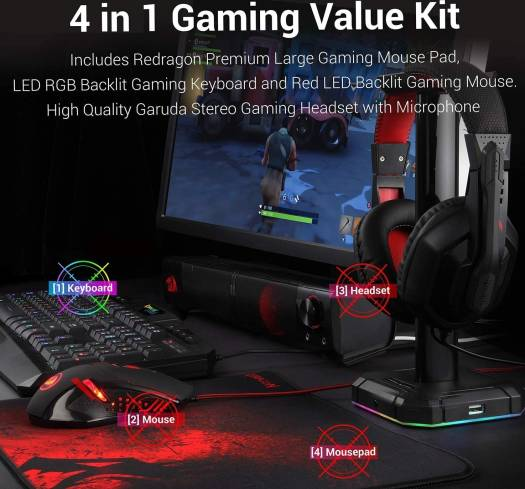 Redragon Backlit Gaming Mouse, Gaming Keyboard, Large Gaming Mouse Pad, PC Computer Gaming Headset with Microphone Combo, S101-BA Redragon RGB LED Backlit 104 Key Gaming Keyboard | S101-BA-2