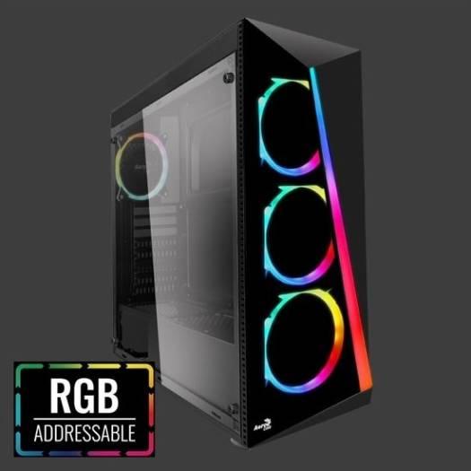 AeroCool Shard RGB Mid Tower, Acrylic Front Panel, Tempered Glass, 3x Fan ARGB, 1x Fan ARGB   SHARD-G-BK-V2