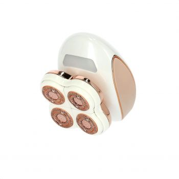 Geepas 4 Head Ladies Epilator, GLS86042, Hair Remover, Painless Razor, Flawless Legs, Electric Trimmer, USB Rechargeable Battery, Ideal Leg, Ankles & Knees for all Skin - White/Gold   6294016354842
