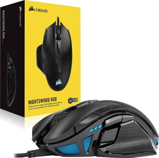 Corsair NIGHTSWORD RGB Tunable FPS/MOBA 18,000 dpi Optical Wired Gaming Mouse (Black) | CH-9306011-NA
