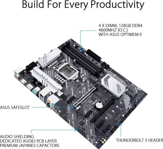ASUS Prime Z490-P LGA 1200 (Intel 10th Gen) ATX Motherboard (Dual M.2, DDR4 4600, 1 Gb Ethernet, USB 3.2 Gen 2 USB Type-A, Thunderbolt 3 Support, Aura Sync RGB)   90MB12V0-MVAAY0 / 90MB12V0-M0EAY0
