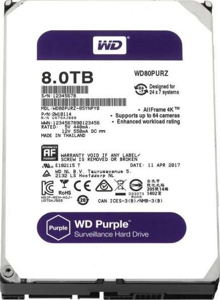 """Western Digital WD Purple 8TB 5400RPM SATA lll 3.5/"""" Internal Hard Drive WD81PURZ"""