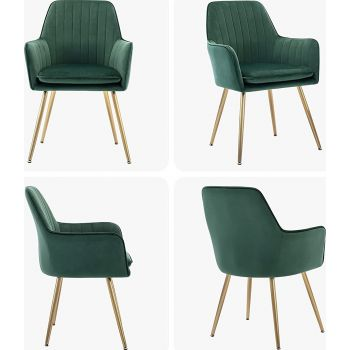 Mahmayi Velvet Dinning Chair Set of 2 Mid-Back Accent Chair Modern Leisure Armchair with Gold Plating Legs Upholstered Living Room Chair (2Pcs),Free Assembly - Royal Green | DC031G-VL2-DN-CH-GRN2