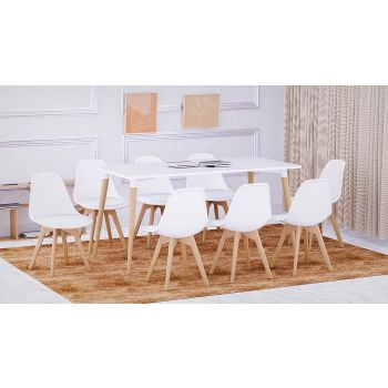Mahmayi Cenare 9 Piece Dining Set for Kitchen, 160 X 80 Table With 8 PU Dining Chair, Dining Room Set Lounge Set, Eiffel Legged Base Seat Shell Top Side Chairs - White   SetTable-8PUCHAIR-WHT
