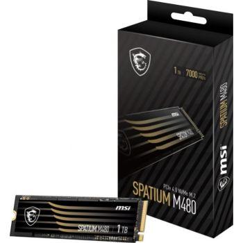 MSI Spatium M480 1TB M.2 2280 Internal Solid State Drive, PCI-E x4, Gen4, NVMe, SSD, 7000 MB/s / 5500 MB/s | S78-440L490-P83