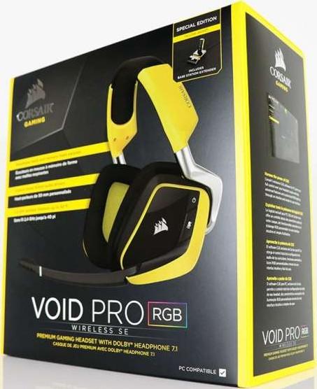Corsair VOID PRO RGB Wireless SE Premium Gaming Headset with Dolby  Headphone 7 1 Yellow CA 901