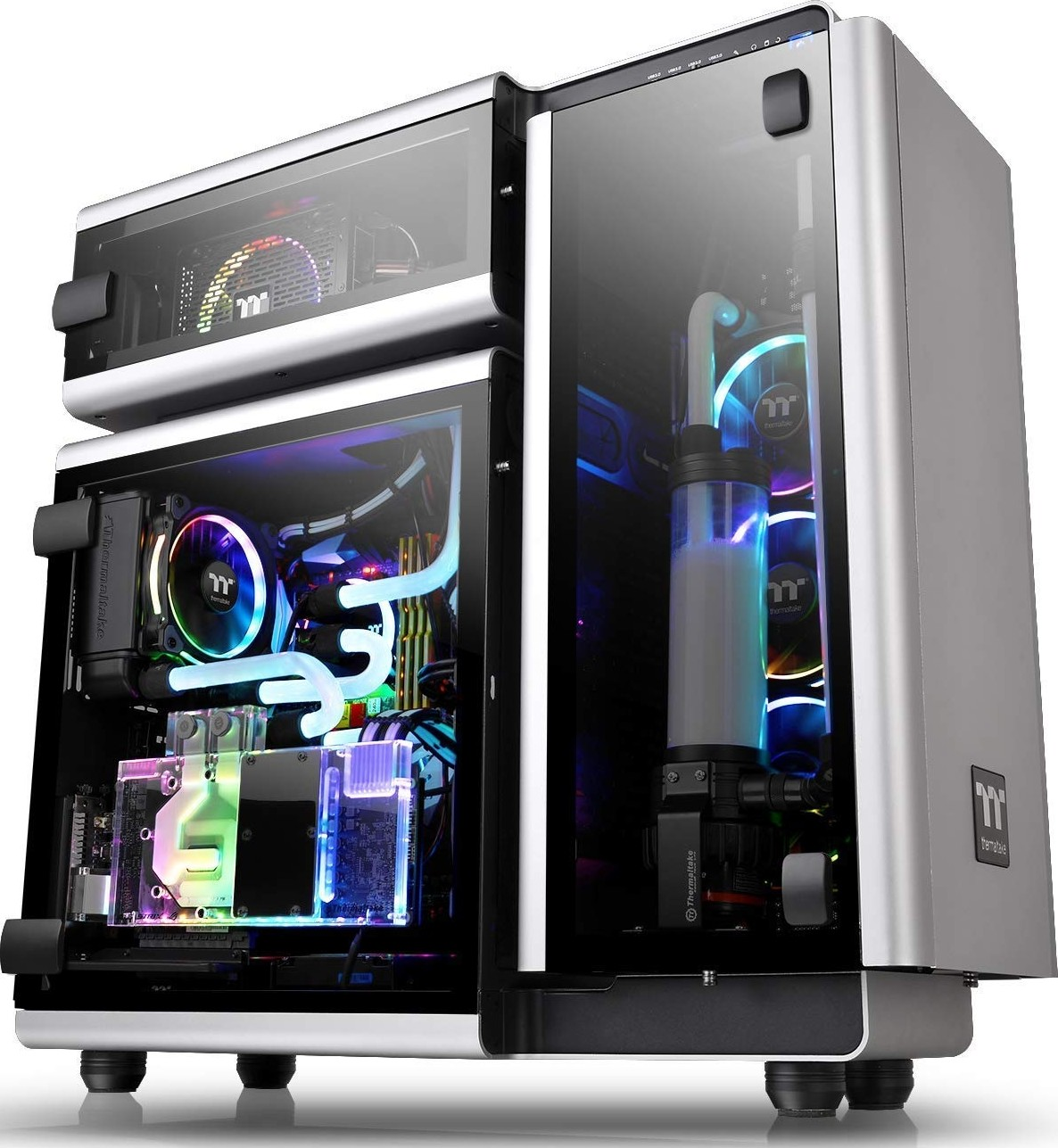 Thermaltake Level 20 Tempered Glass E ATX Vertical GPU Trio Chamber  Aluminum Full Tower Modular Gami