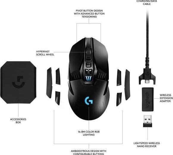f2797825b0b Logitech G903 LIGHTSPEED Gaming Mouse with POWERPLAY Wireless Charging  Compatibility | 910-005085 / 910