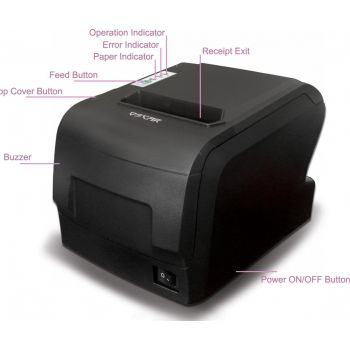 Oscar POS88F 80mm Thermal Bill POS Receipt Printer USB+Serial+Ethernet With Auto-Cutter & Kitchen Beep, ESC/POS Support, 2 Years Warranty | MRPOSC88800FB