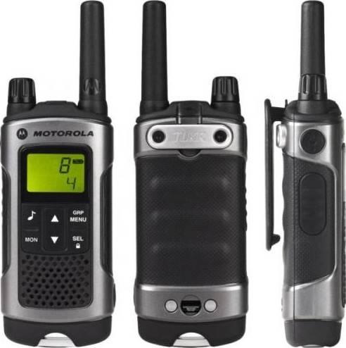 Motorola Walkie Talkie Grey Twin Pack & Charger, License Free, Up to 10km range, Splash proof, Rechargeable NiMH batteries, LCD display |  TLKR-T80-WE