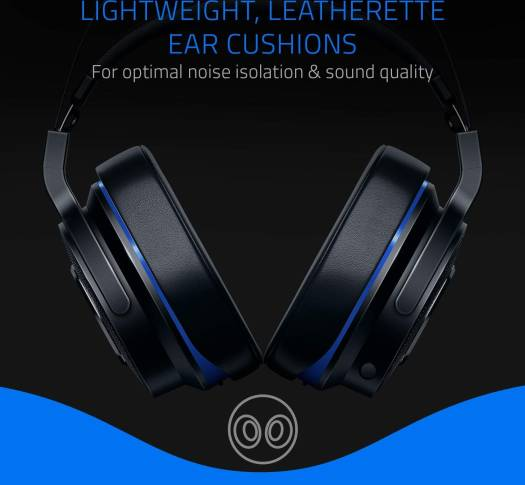 Razer Thresher Wireless and Wired Gaming Headset for PS4 2.4 GHz USB dongle/ 3.5 mm analog connection, Lightweight, Leatherette Ear Cushions | RZ04-02580100-R3G1