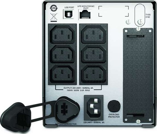 APC Smart UPS,500 Watts 750 VA,Input 230V Output 230V, Interface Port  SmartSlot, USB SMT750I