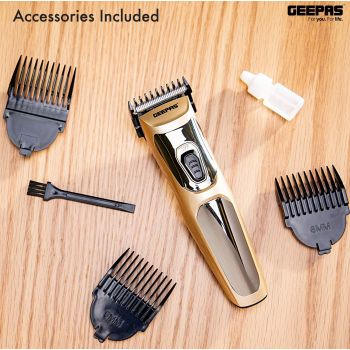 Geepas Rechargeable Hair Clipper  GTR56023, Battery 300 mAh, Precise Beard Styler with Fine Steel Head, Indicator Lights, Cordless Trimmer, 45 Minutes Working in Single Charge - Gold | 6294015517736