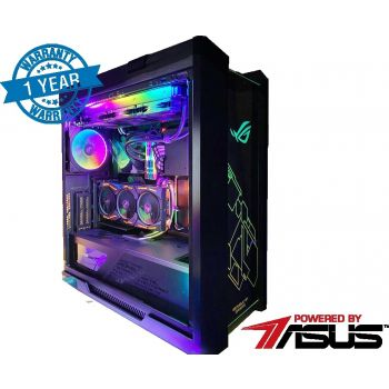 EXTREME GAMING PC POWERED BY ASUS ROG  (CORE I9 10900 5.2 Ghz , 32GB RAM OC , RTX 2080 TI OC ,1TB NVMe SSD + 4TB HDD , 850W TITANIUM PLUS PSU ,ASUS LIQUID COOLER 360MM. WINDOWS 10 PRO )